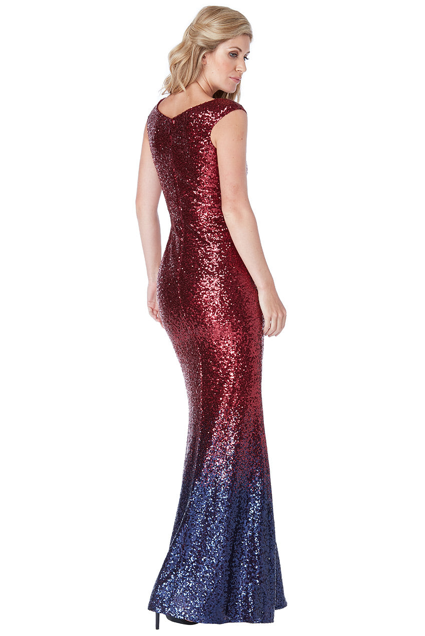 Wine Sequin Ombre Maxi Dress