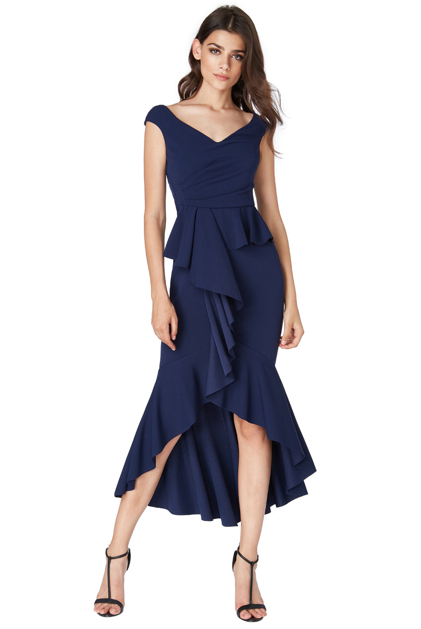 Navy Bardot Peplum Frill Maxi Dress