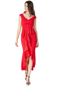 Red Bardot Peplum Frill Maxi Dress