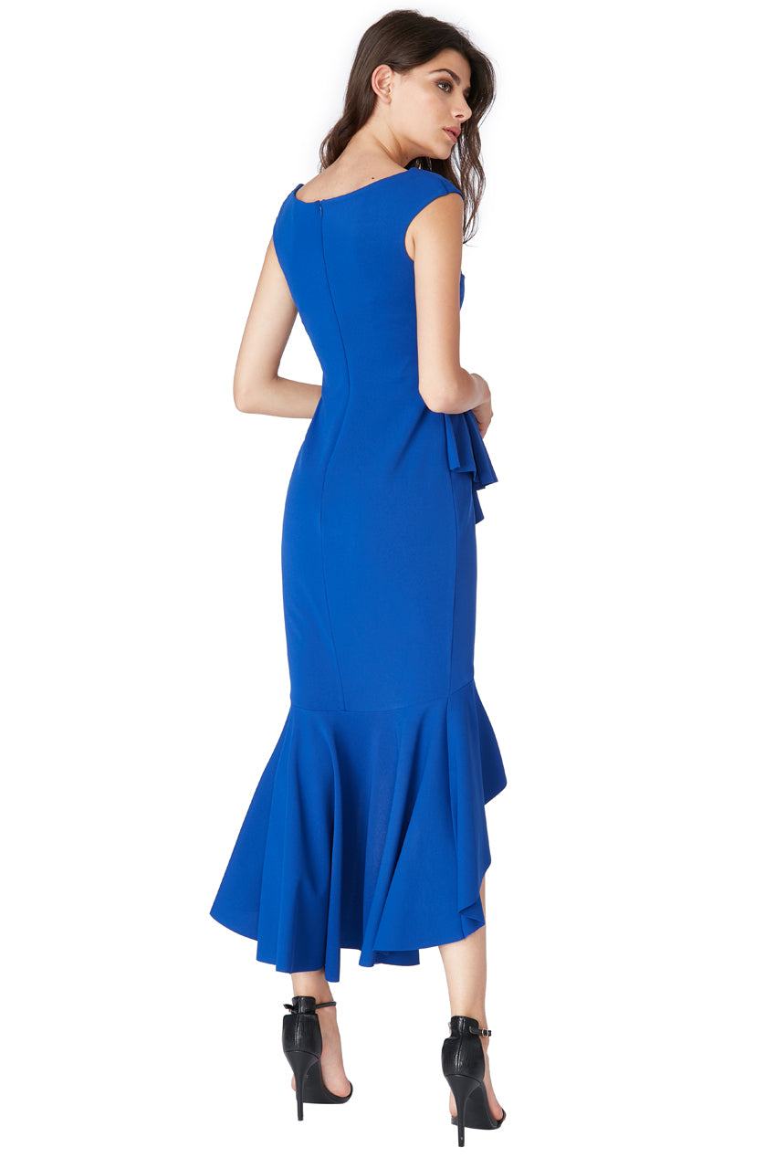 Royal Blue Bardot Peplum Frill Maxi Dress