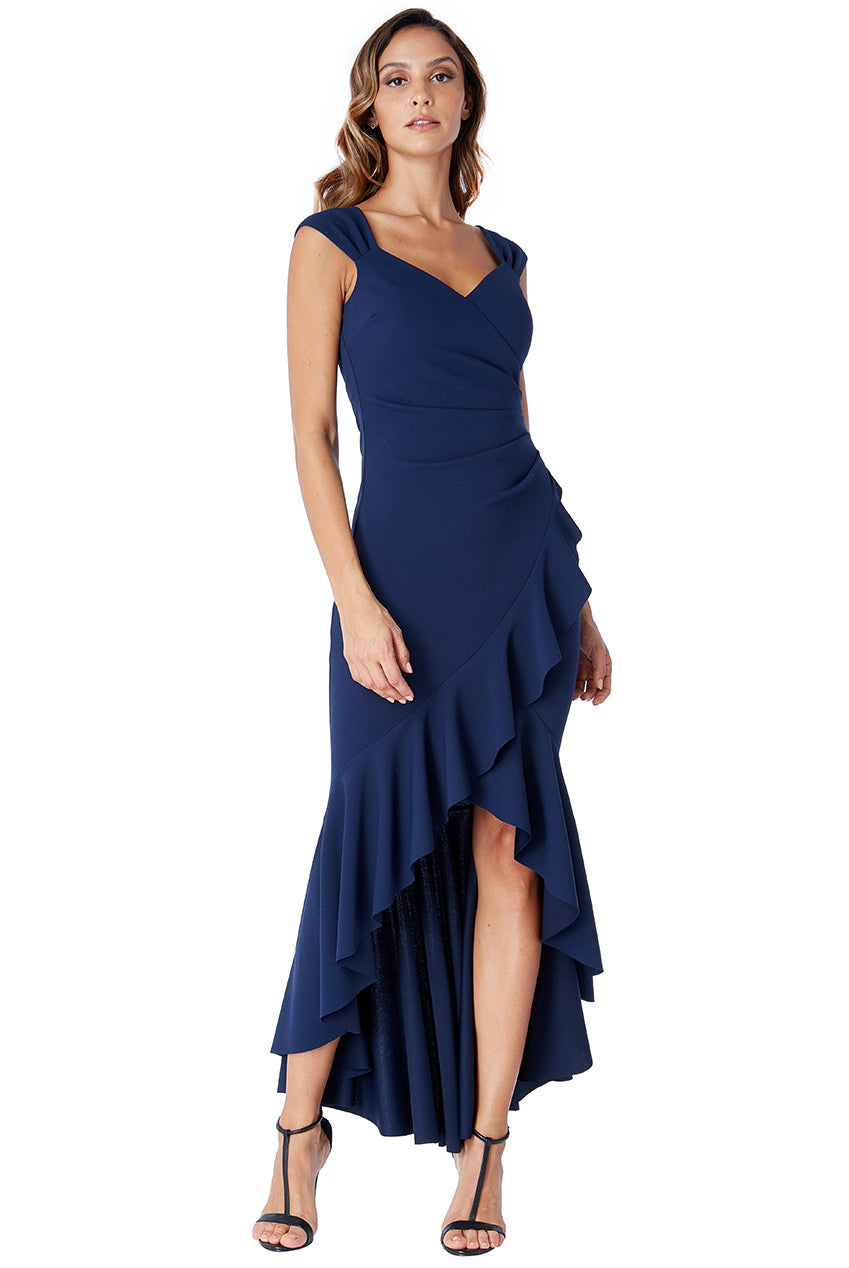 High Low Frill Hem Maxi Dress - NAVY