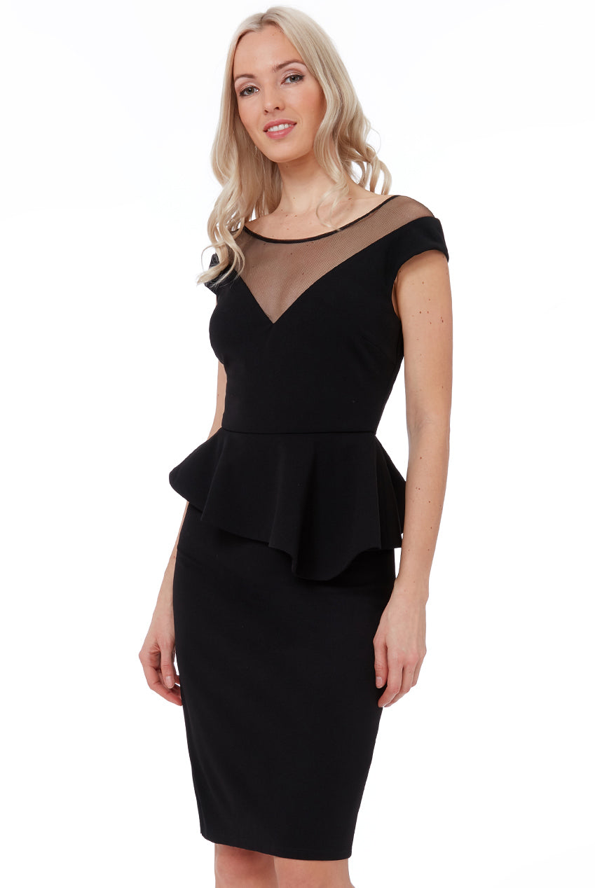HIGH LOW PEPLUM MIDI DRESS - BLACK