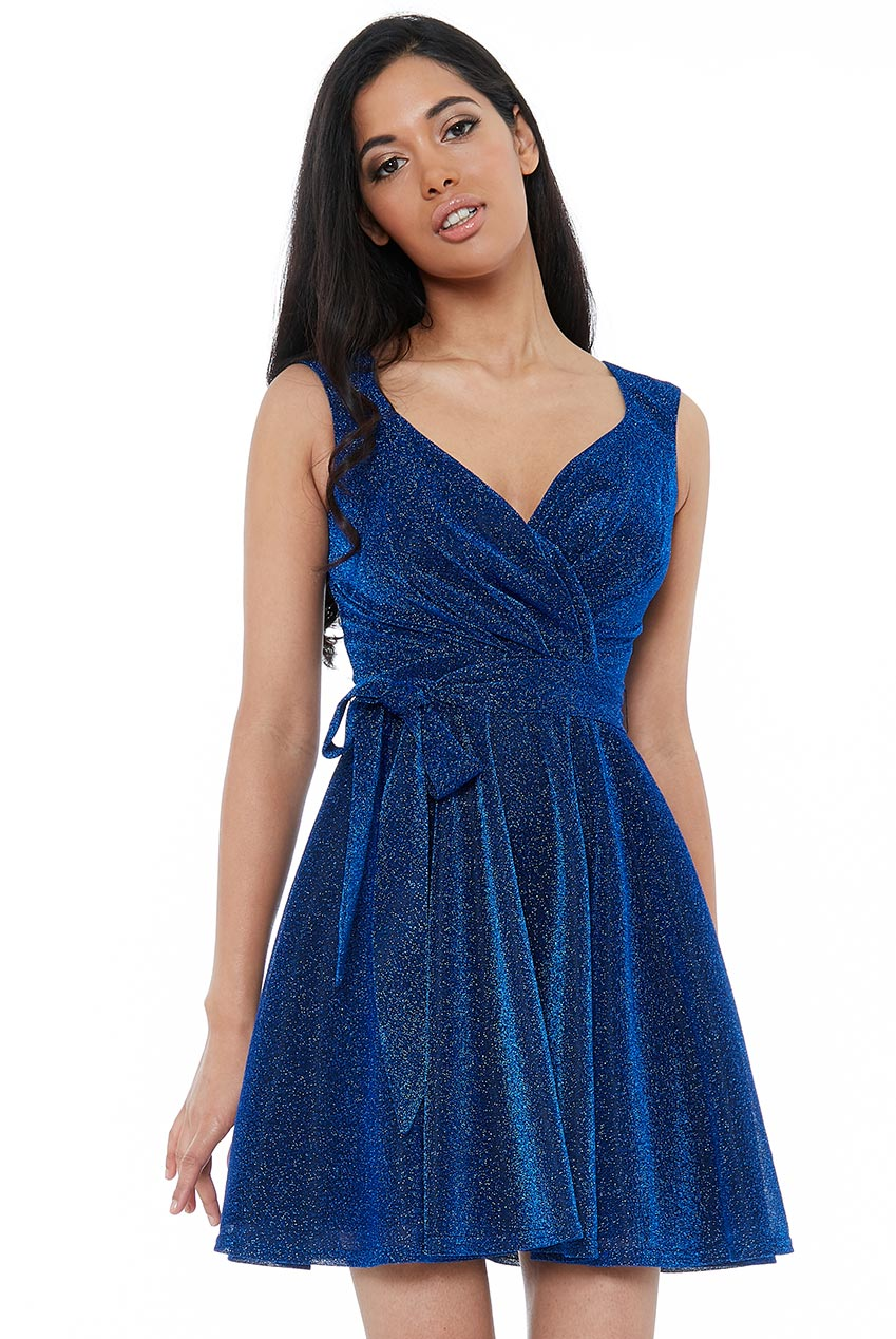 Royal Blue Cross Over Sleeveless Mini Skater Dress