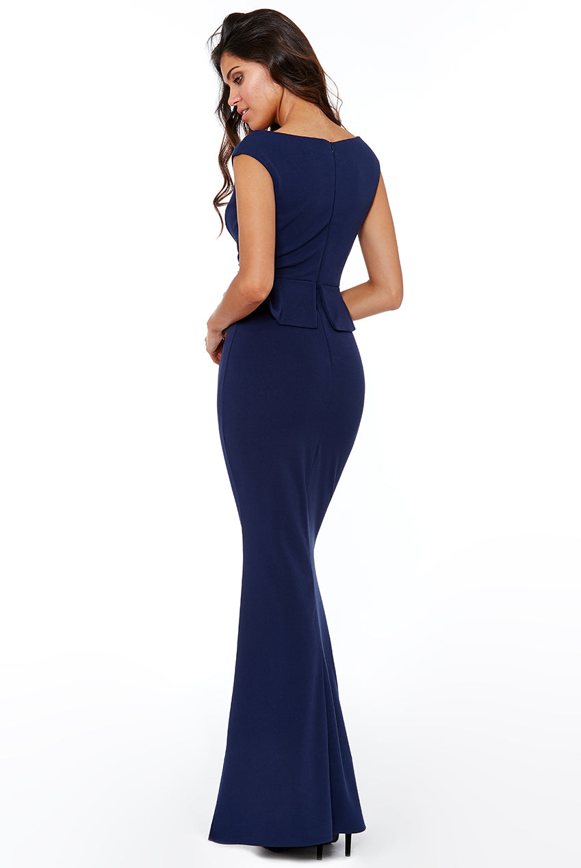 Navy Bardot Wrap Peplum Maxi Dress