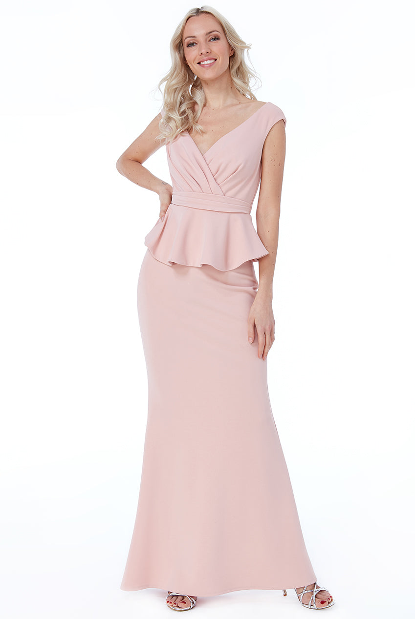 Nude Bardot Wrap Peplum Maxi Dress