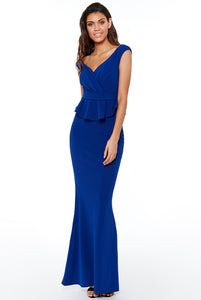 Royal Blue Bardot Wrap Peplum Maxi Dress