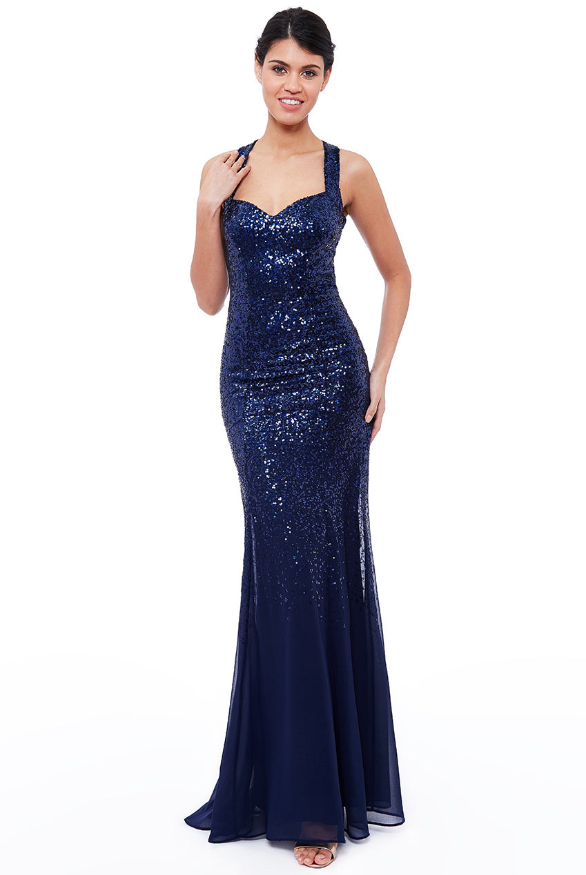 Criss Cross Back Sequin Maxi Dress - Navy