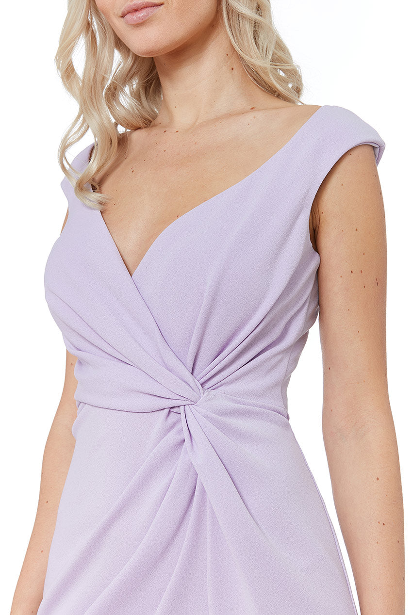 CROSS OVER MIDI WITH FRILL DETAILING - Lavender