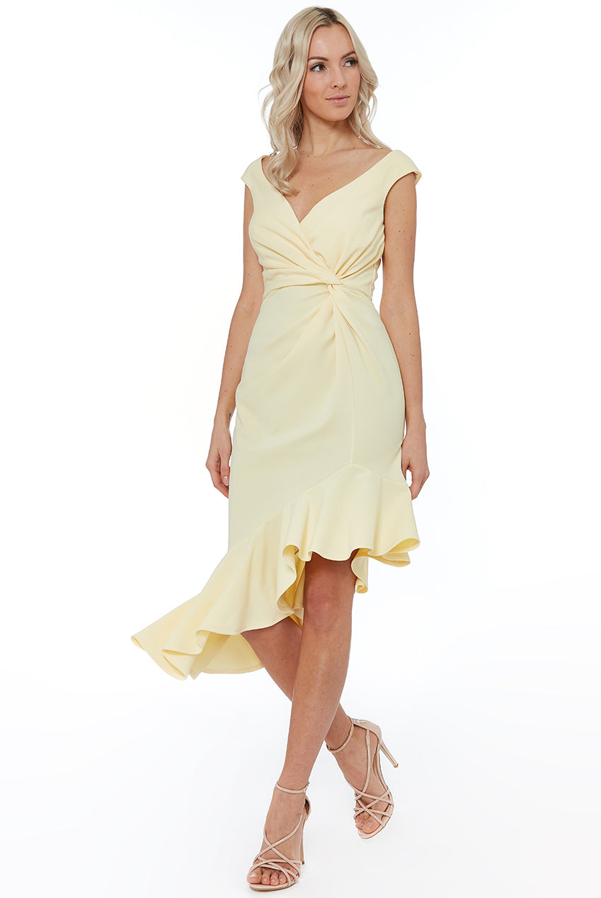 CROSS OVER MIDI WITH FRILL DETAILING - Lemon