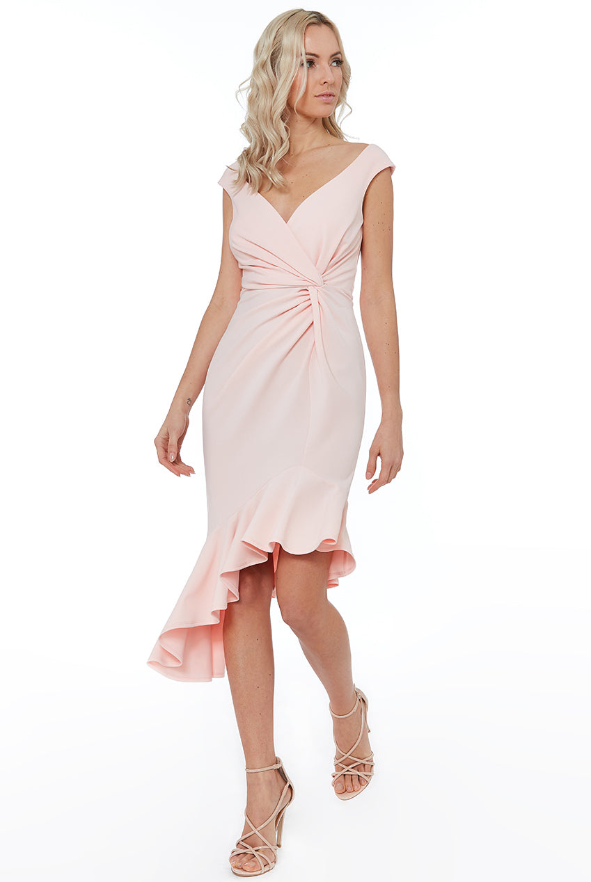 CROSS OVER MIDI WITH FRILL DETAILING - Pink