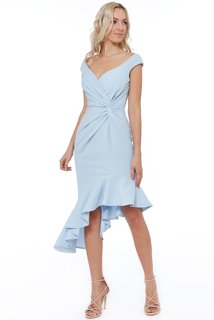 CROSS OVER MIDI WITH FRILL DETAILING - Powder Blue
