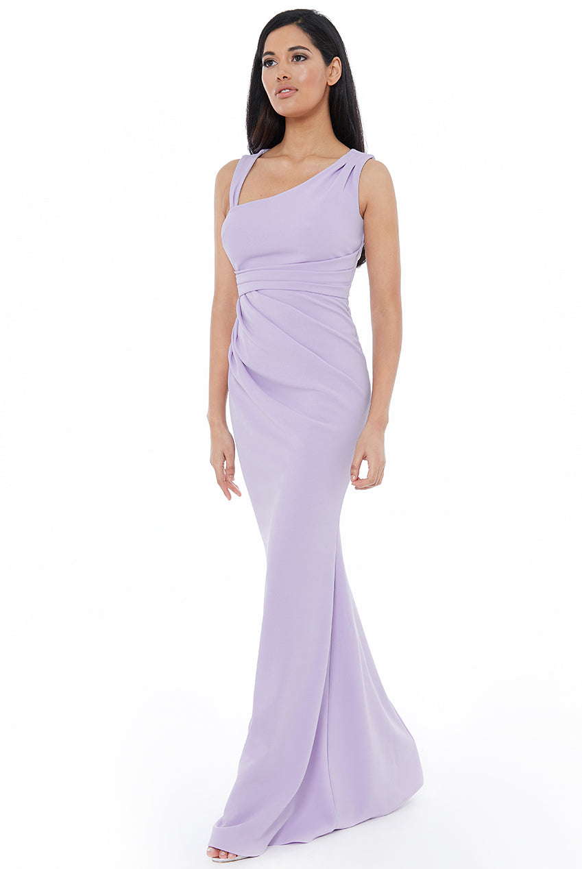 ASYMMETRIC PLEATED MAXI DRESS - Lavender
