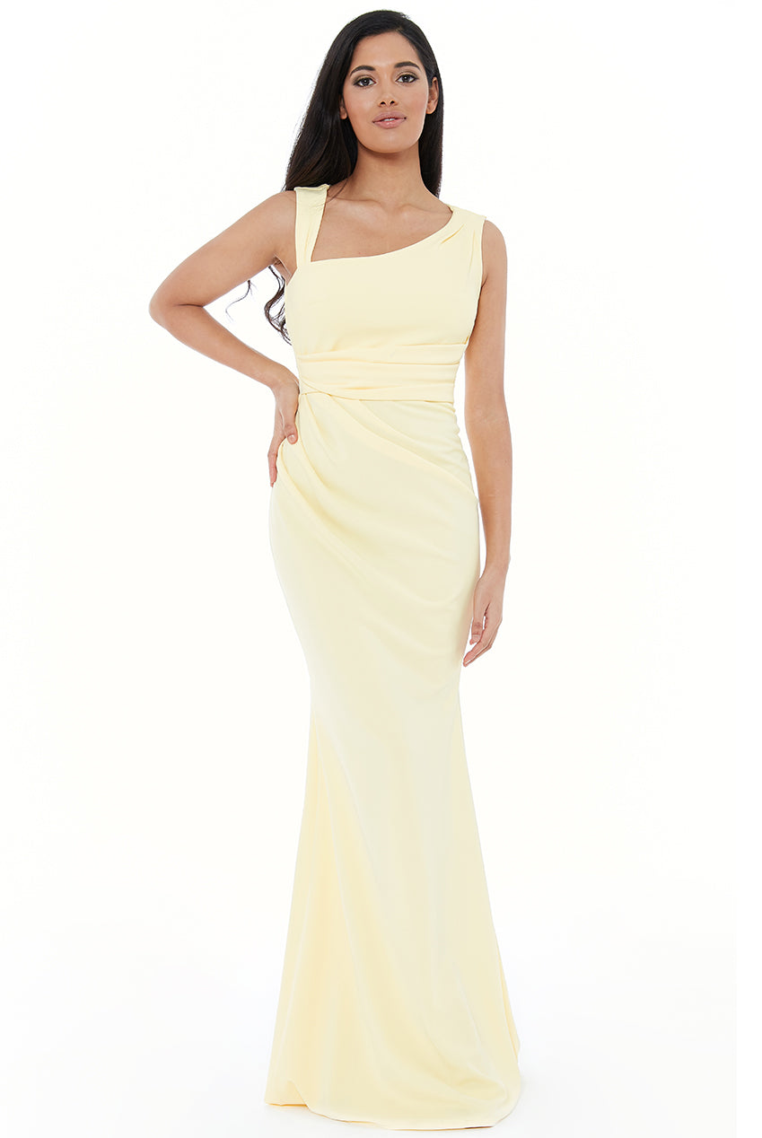ASYMMETRIC PLEATED MAXI DRESS - Lemon