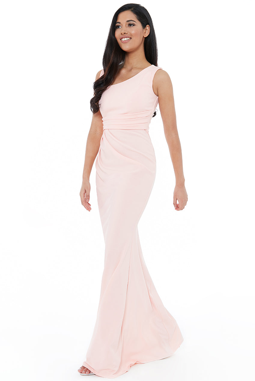 ASYMMETRIC PLEATED MAXI DRESS - Pink