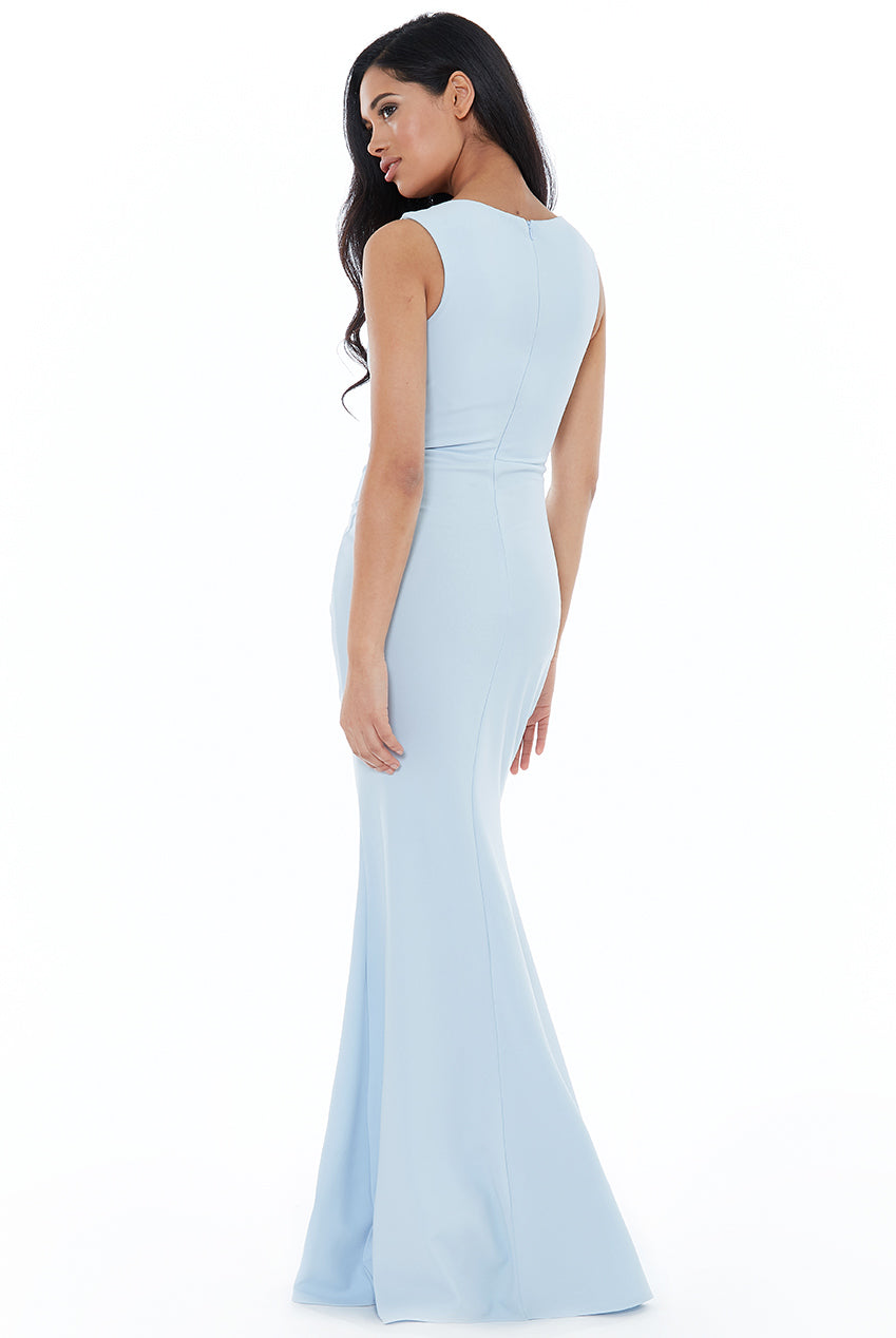 ASYMMETRIC PLEATED MAXI DRESS - Powder Blue