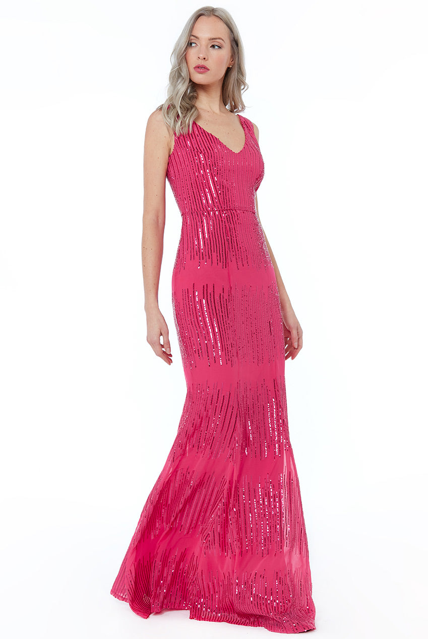 Hot Pink Sequin V Neck Maxi Dress