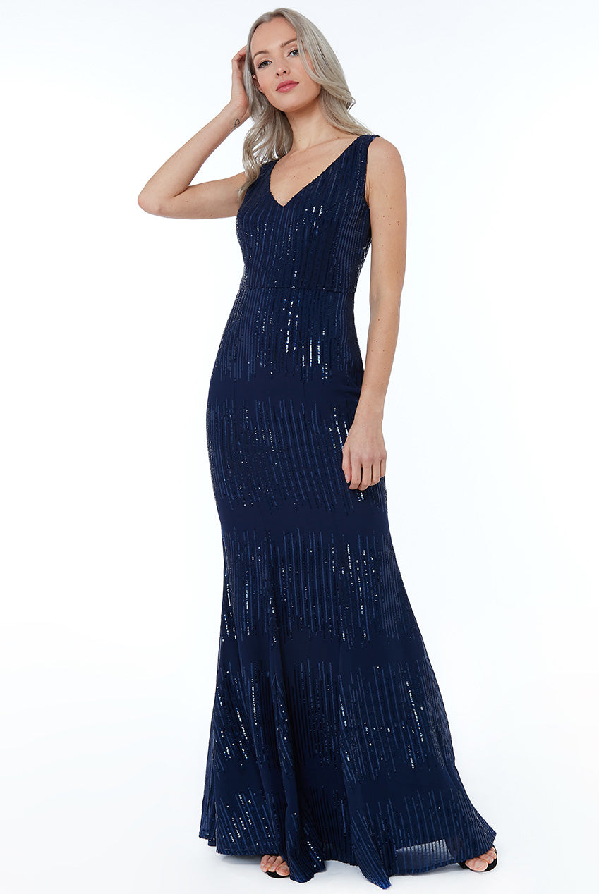 Navy Sequin V Neck Maxi Dress