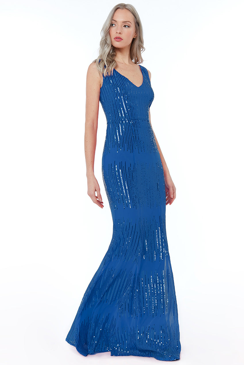 Royal Blue Sequin V Neck Maxi Dress