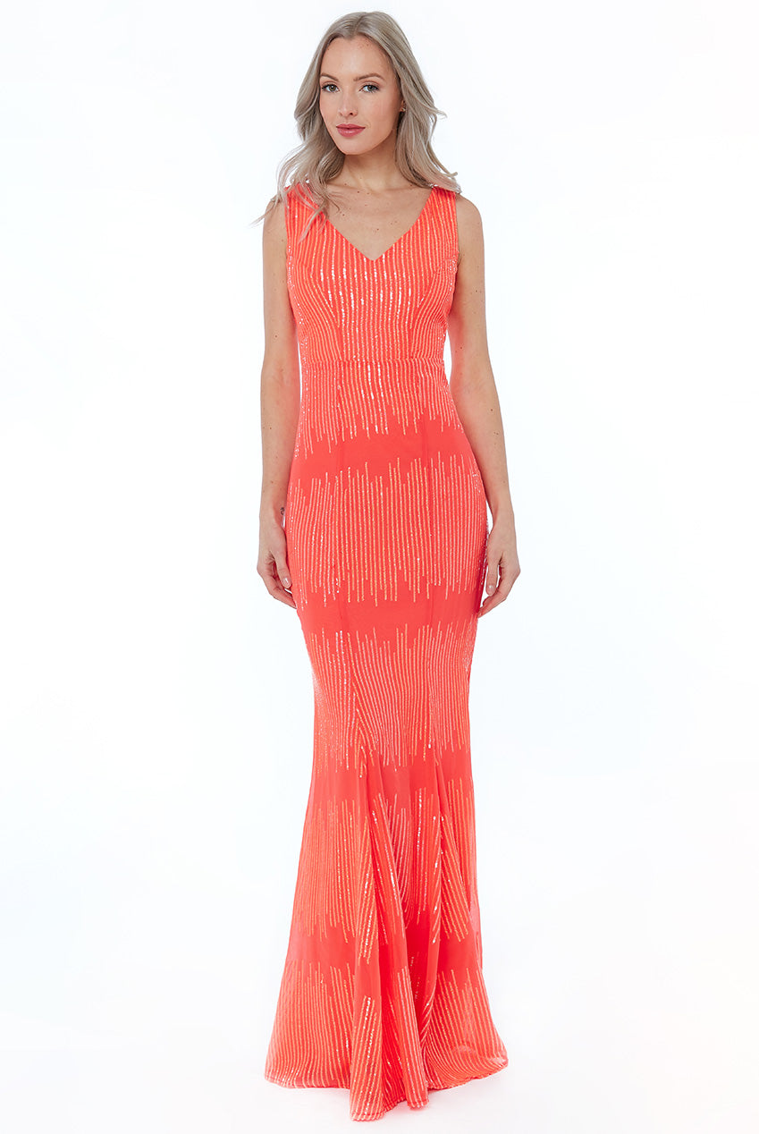 Coral Sequin V Neck Maxi Dress