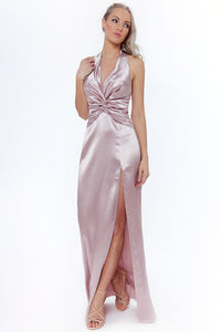Blush Knot Front Halter Neck Maxi Dress