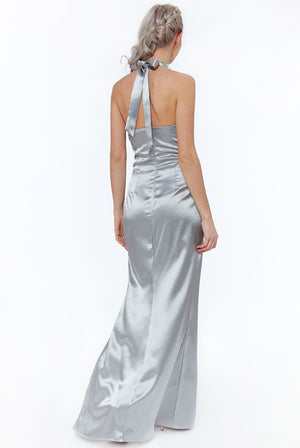 Silver Knot Front Halter Neck Maxi Dress