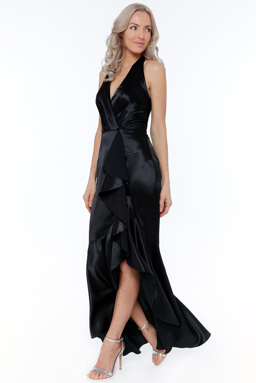 Black Satin Maxi Dress with Frill