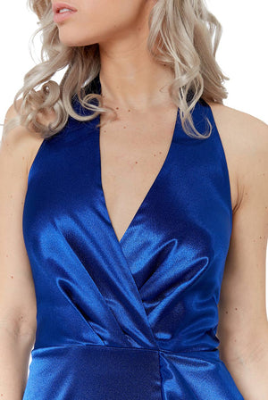 Royal Blue Satin Maxi Dress with Frill