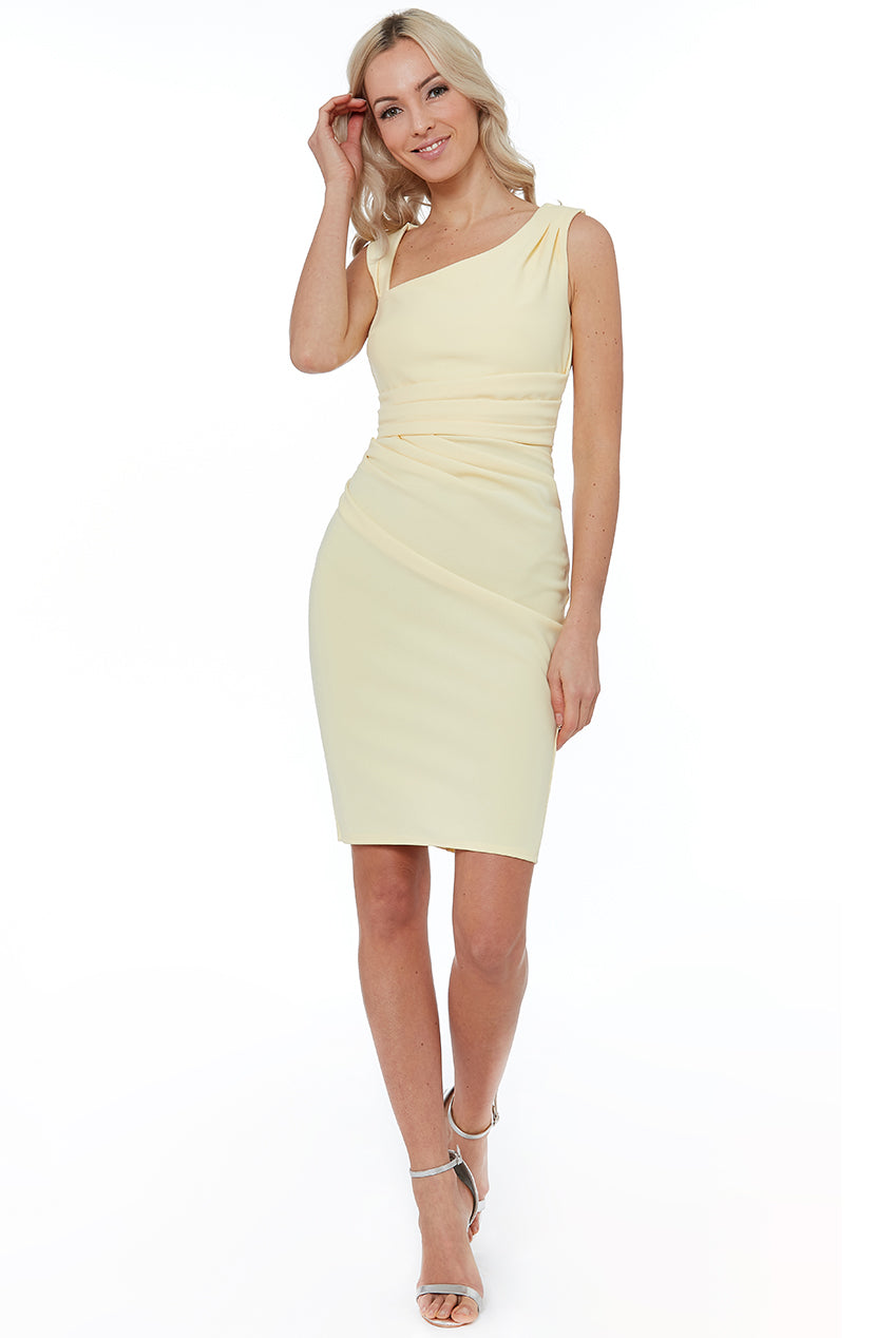 Lemon Asymmetric Pleated Midi Dress