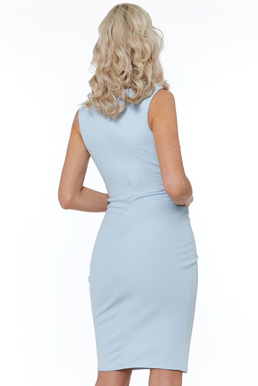 Powder Blue Asymmetric Pleated Midi Dress