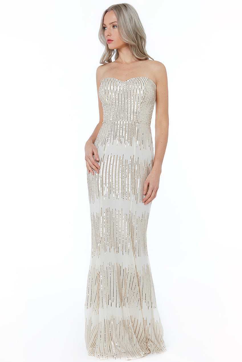 Champagne Sequin Bandeau Maxi Dress