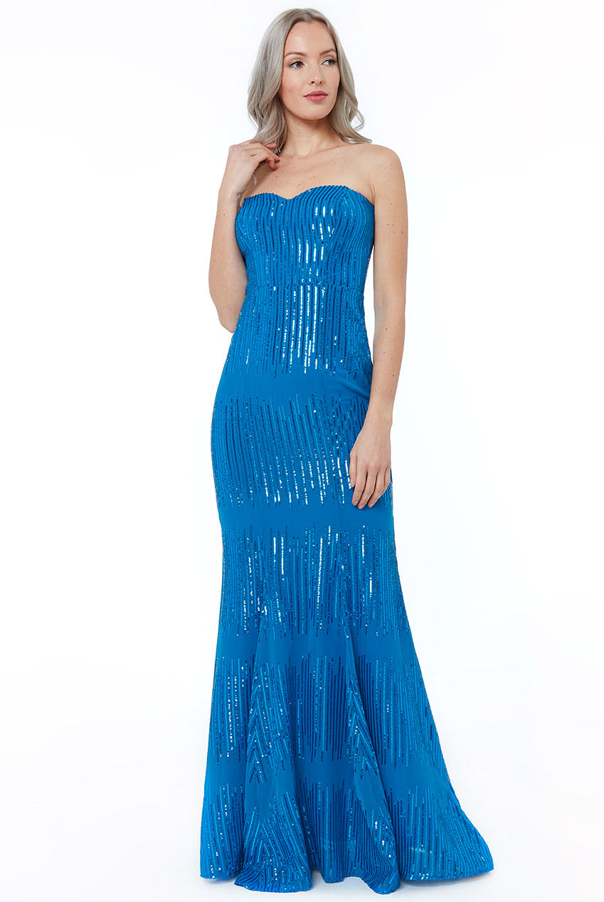Royal Blue Sequin Bandeau Maxi Dress