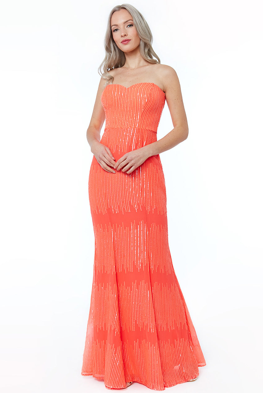 Coral Sequin Bandeau Maxi Dress