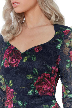 FLORAL THREE QUARTER SLEEVE MIDI DRESS - Navy