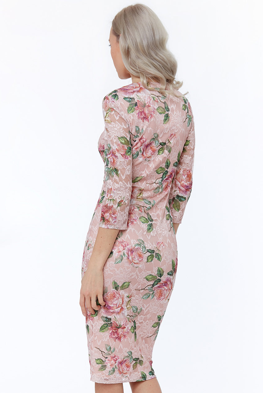 FLORAL THREE QUARTER SLEEVE MIDI DRESS - Peach