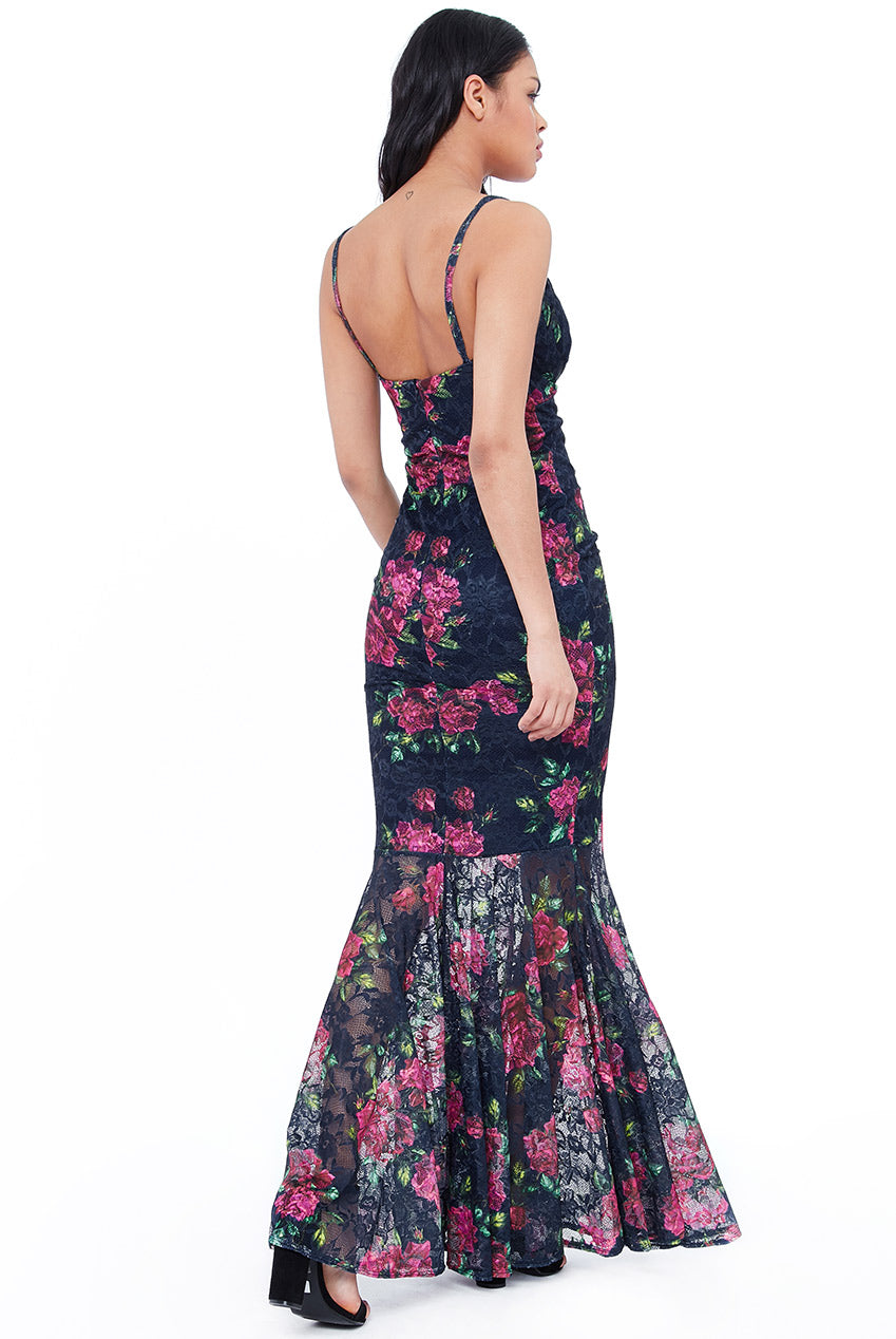 Pleated Bust Floral Maxi Dress - Navy
