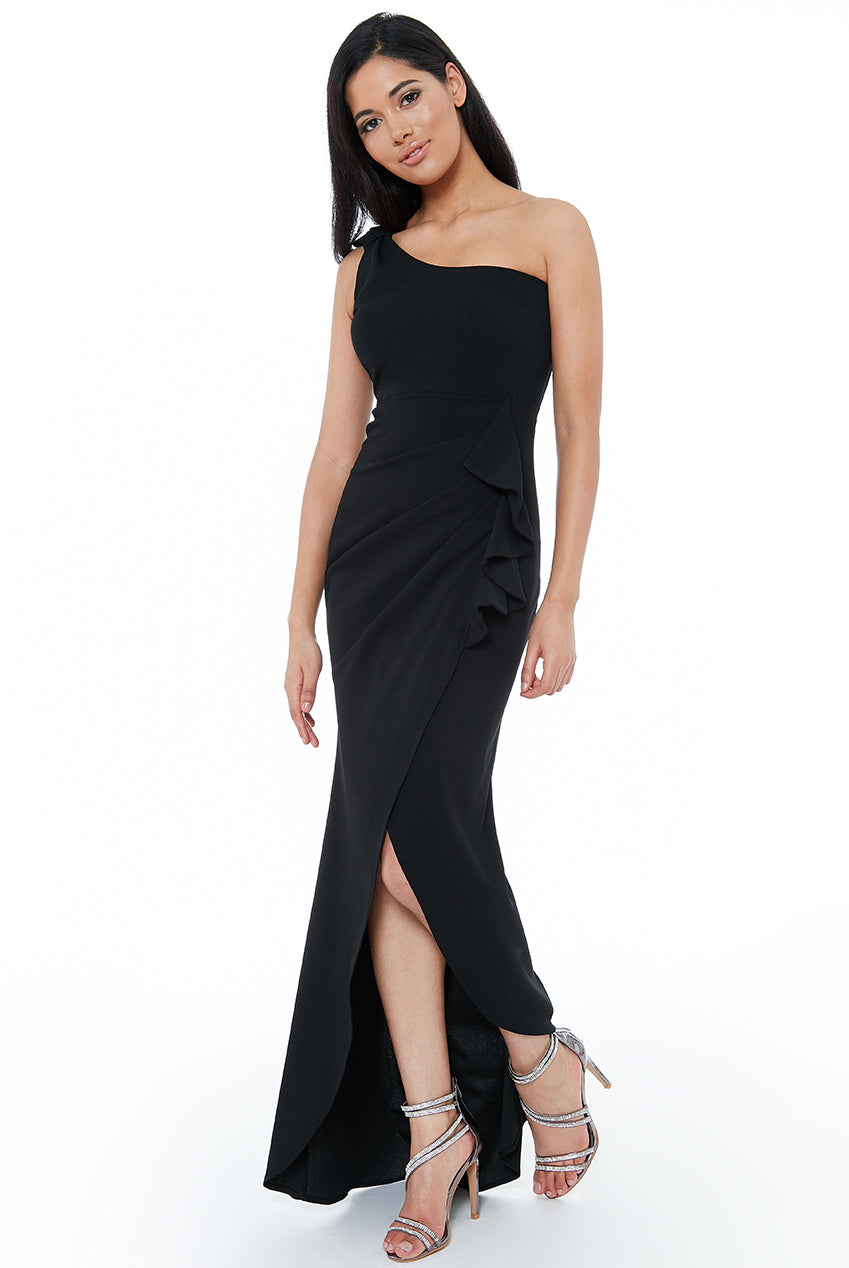 Black One Shoulder Maxi Dress with Frill