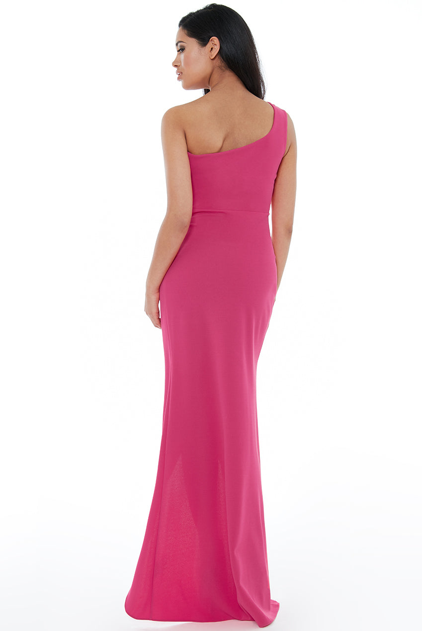 Hot Pink One Shoulder Maxi Dress with Frill