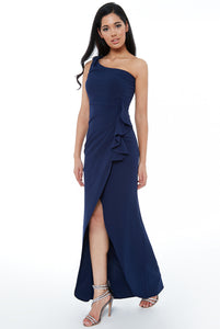 Navy One Shoulder Maxi Dress with Frill
