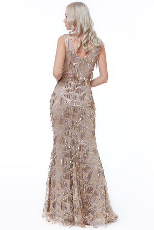 Gold Sequin Fringe Flapper Maxi Dress