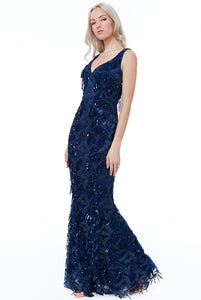 Navy Sequin Fringe Flapper Maxi Dress