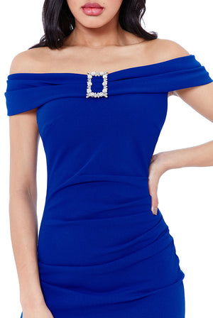 Buckle Bardot Midi Dress by Vicky Pattison - Royal Blue