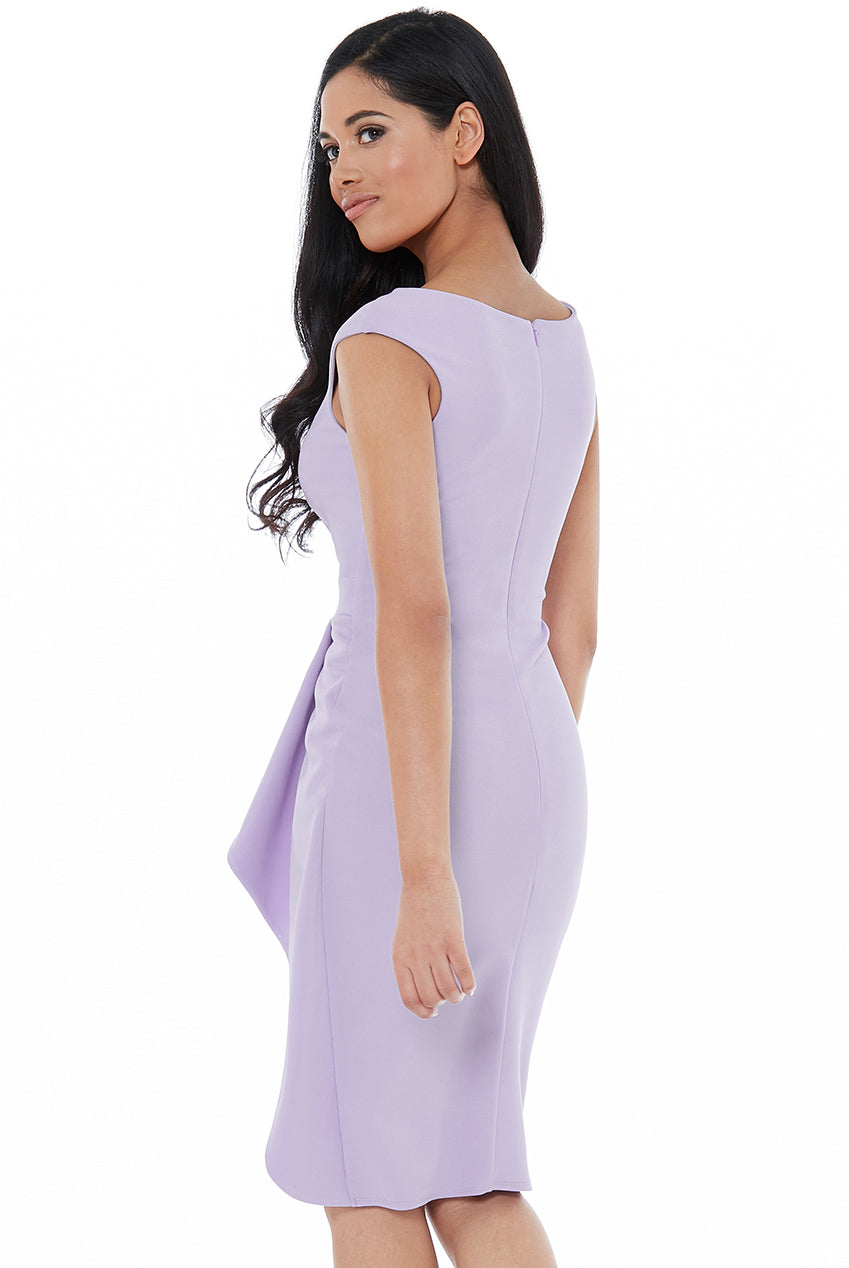 Lavender Folded Peplum Midi Dress