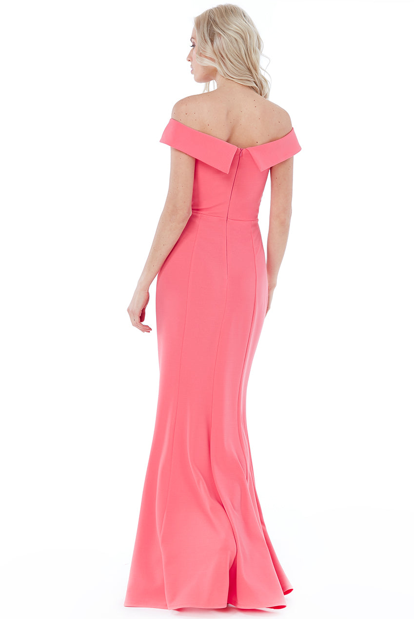 Coral Bardot Front Split Maxi Dress