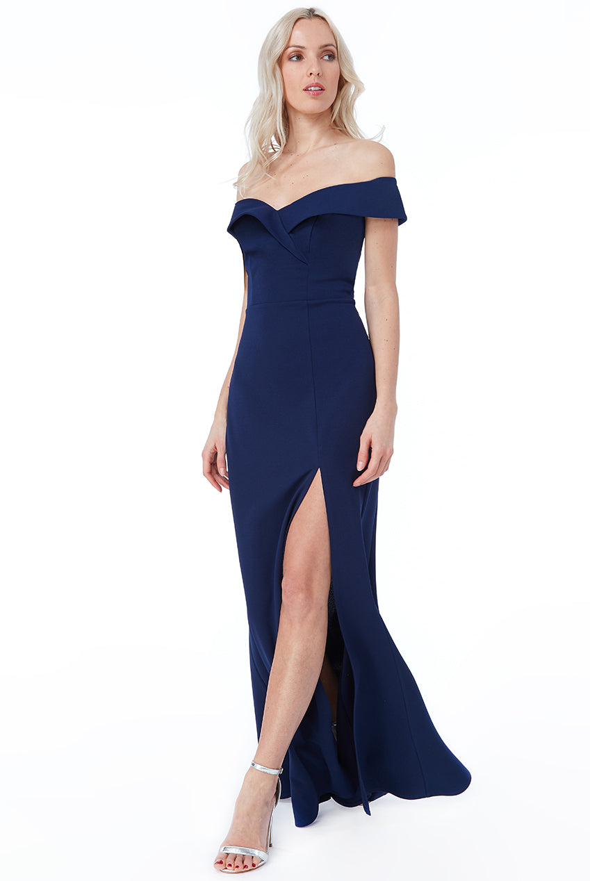Navy Bardot Front Split Maxi Dress