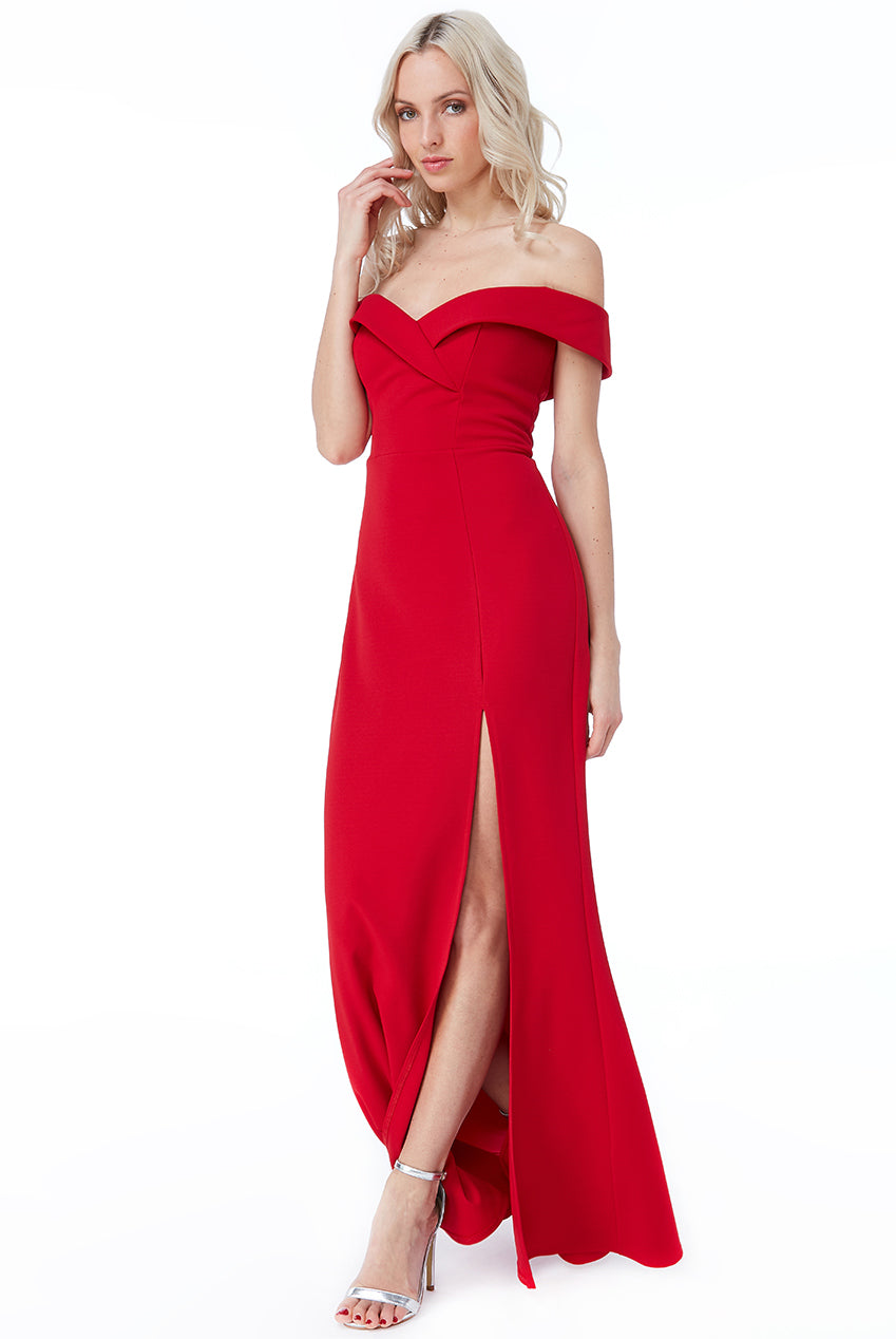 Red Bardot Front Split Maxi Dress