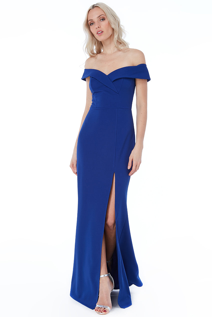 Royal Blue Bardot Front Split Maxi Dress