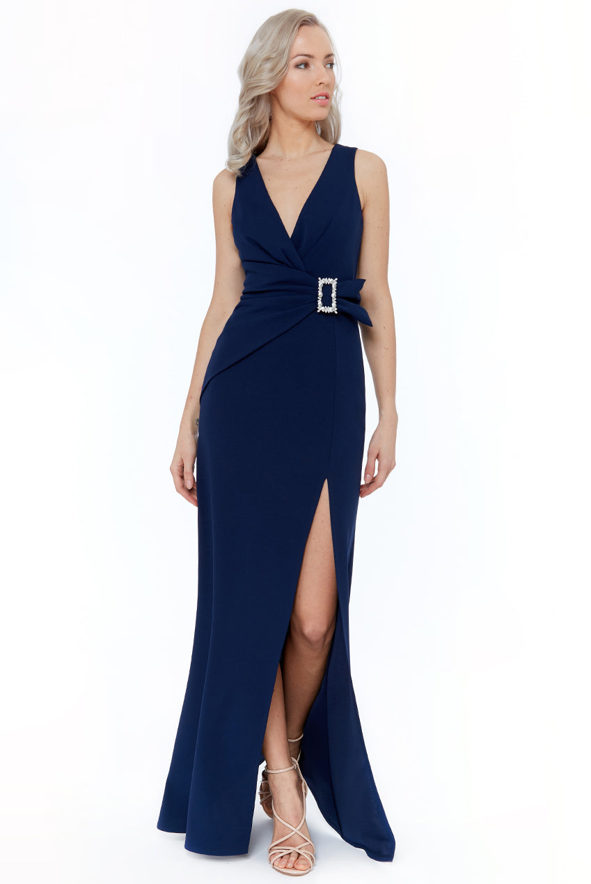 Buckle Front Maxi Dress by Vicky Pattison - Navy