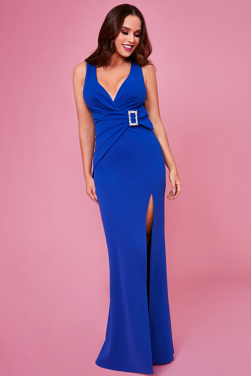 Buckle Front Maxi Dress by Vicky Pattison - Royal Blue