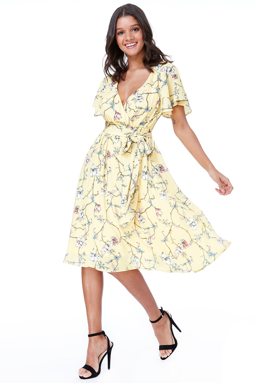 MIDI FLUTTER SLEEVE TEA DRESS - Lemon