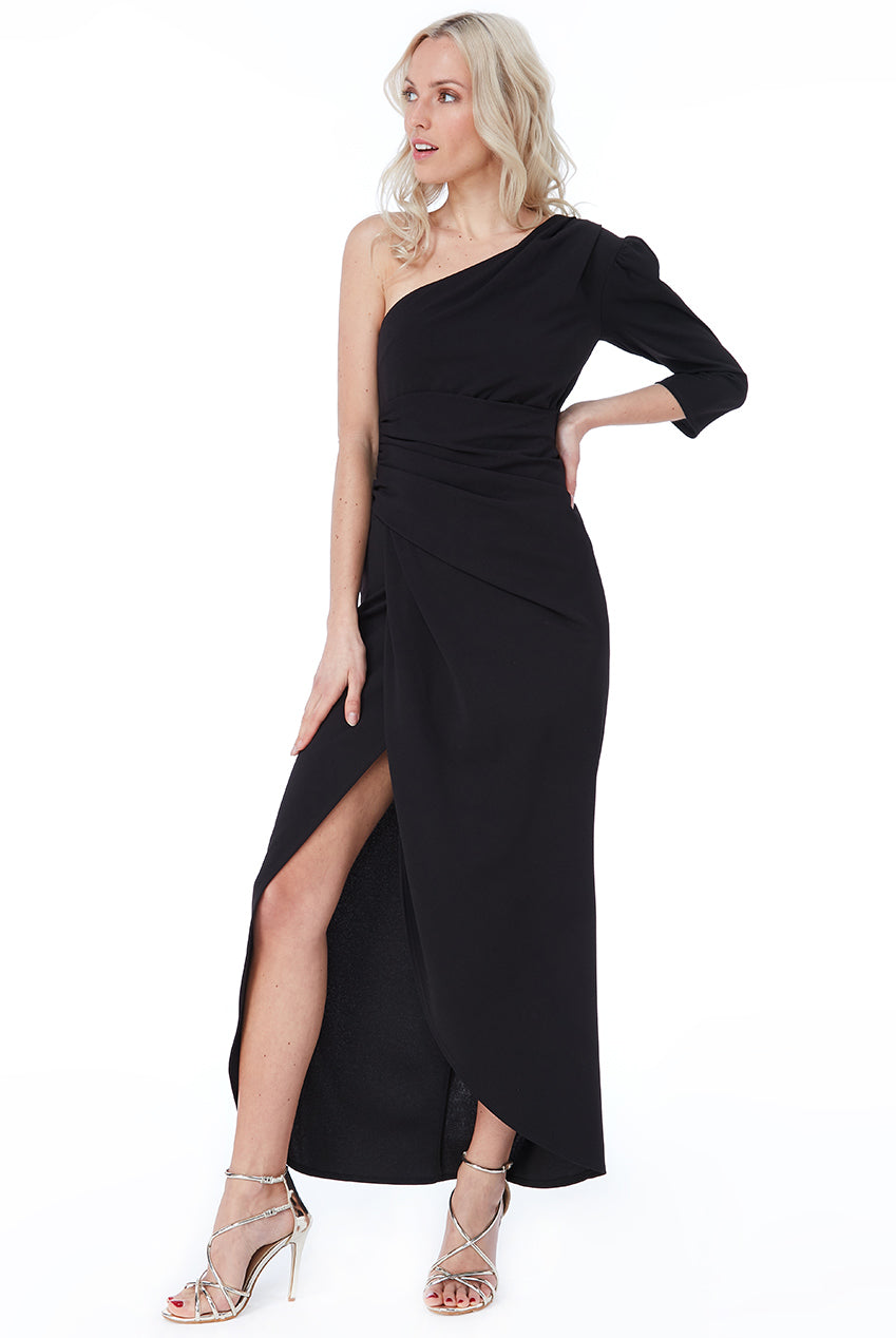 Black One Shoulder Long Sleeve Maxi Dress